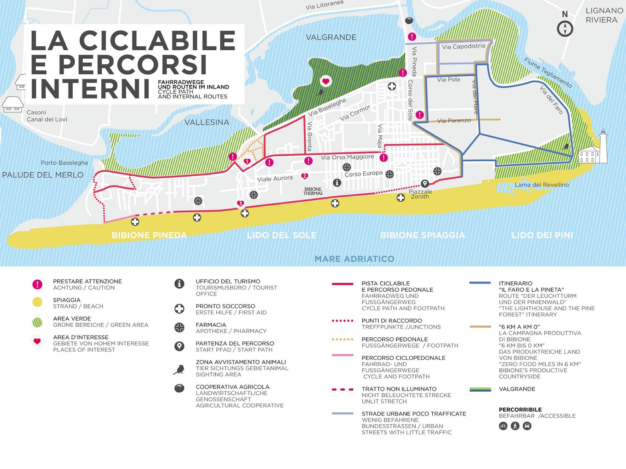 piste ciclabili a Bibione Mappa